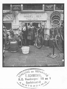 1940's. The bike parking and service business run by Teun Schwithal on the Spuistaat 41a and Nieuwezijds Voorburgwal 78 in Amsterdam. #amsterdam #1940 #NieuwezijdsVoorburgwal #Spuistraat