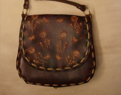 Kim Tooled Brown Leather Crossbody Bag Shoulder by HawkinsLeather