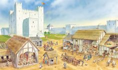 A castle's servants at work.  Click on image to ENLARGE.