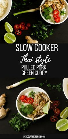 Slow Cooker Thai Green Curry Pulled Pork isn't a big hearty dish. Healthy Slow Cooker, Slow Cooker Recipes, Crockpot Recipes, Healthy Recipes, Delicious Recipes, Freezer Recipes, Sweets Recipes, Healthy Food, Healthy Eating