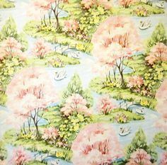 Vintage Wrapping Paper  Cherry Blossom Landscape by TillaHomestead, $6.00
