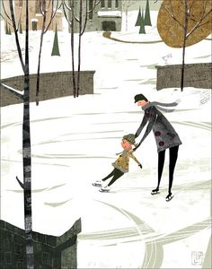 Girl with dad learning to ice skate. Art print / watercolor painting / wall art / illustration / wall decor. By Lee White.