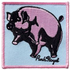 Official Pink Floyd Iron-on Patch measuring approx 75mm x 75mm featuring the Animals Flying Pig design C D Visionary Inc Officially Licensed