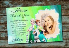 Frozen Fever Birthday Invitation With Free Thank You Card  We design it you print it Customized invitation is supplied to you as a digital printable