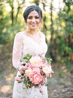 Photo by Apryl Ann Photography at The Grove in Aubrey, Tx! www.thegroveaubreytexas.com #Bohemian #LaceBridalGown #PinkFlorals #HeadPiece #BrideandGroom #BridalPortrait #SpringWedding #NorthTexasBride #WeddingVenue