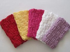 Crochet Washcloths Spa Set. Red Yellow Pink by TalicakeCrochet