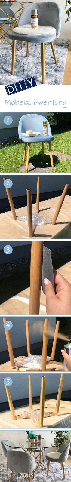Für ein einheitliches Design müssen nicht gleich ganze Möbel ausgetauscht werden – manchmal reicht es schon, wenn man mit einem passenden Lackspray etwas nachhilft. So auch bei dieser Tisch/Stuhl-Kombo, bei der die Stuhlbeine mit belton Gold-Effekt dem Tisch angeglichen wurden. Dafür wurden die Stuhlbeine abgeschraubt, angeschliffen, gereinigt, dann sprühlackiert und zusammengebaut, Fertig! belton Produkte sind erhältlich in führenden Baumärkten wie OBI, Hagebau, Globus, Stabilo und V-Baumarkt. Spray Paint Projects, Diy Spray Paint, Outdoor Sofa, Outdoor Furniture, Outdoor Decor, Obi, Wishbone Chair, Painting, Globe