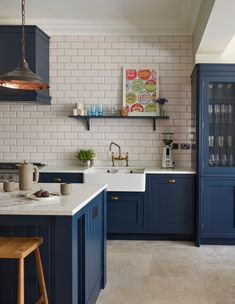 Navy and White Sophisticated Kitchen - Town & Country Living