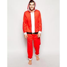 ASOS Christmas Santa Onesie ($16) ❤ liked on Polyvore featuring red and asos