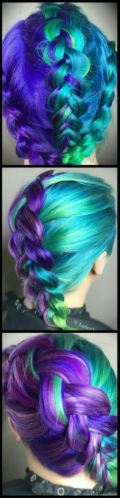 Blue turquoise purple green braided dyed hair color @amberstylist26
