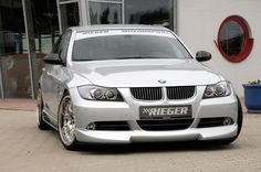 Rieger Front Lip Spoiler on the stock E90 BMW front bumper, pre-facelift, with Rieger Side Skirts, wow, what difference maker!
