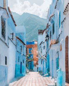 """📍 M O R O C C O 🇲🇦 - The city of Chefchaouen, located in northwest Morocco is nicknamed the """"Blue Pearl of Morocco"""", you can definitely see… Light Blue Aesthetic, Blue Aesthetic Pastel, Aesthetic Colors, Aesthetic Pictures, Photo Wall Collage, Picture Wall, Blue City Morocco, Images Esthétiques, Morocco Travel"""