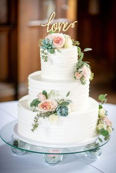 Intimate chapel wedding with a blush and green palette and succulent accents at Berry College in Mount Berry, Georgia -- Bustld -- Blush Wedding Cakes, 3 Tier Wedding Cakes, Wedding Cake Prices, Country Wedding Cakes, Small Wedding Cakes, Wedding Cake Rustic, Wedding Cakes With Cupcakes, Elegant Wedding Cakes, Wedding Cakes With Flowers