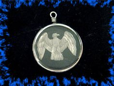 ROCK CRYSTAL ~ Reverse Etched Intaglio - American Eagle Watch Fob Pendant Charm ~ Sterling Silver ~ Antique Estate Treasure