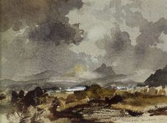 Watercolour on paper. 'I am a believer' (writes Hilder) 'in banishing from a watercolour the kind of detail (usually applauded) as true to life'. In this print Hilder gets at the essence of the place. This is watercolour painting at its most captivating. Watercolor Landscape, Watercolor And Ink, Landscape Paintings, Watercolor Painting Techniques, Watercolour Painting, Watercolors, Australian Painting, Art Tutor, Urban Landscape