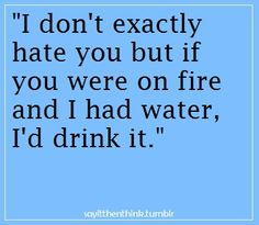 """I don't exactly hate you but if you were on fire and I had water, I'd drink it."" (I can think of a few...) #hate #sayings"