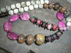 LONG GEMSTONE NECKLACE Handcrafted Chunky by Igottahaveitnecklace
