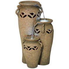 Castellamonte Rustic Jars LED Indoor - Outdoor Fountain