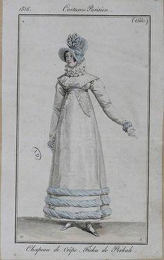1816 Costumes Parisien. Hat of crêpe. Fichu (scarf) of cotton.