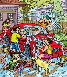 Play a Hidden Picture puzzle featuring outdoor car wash fun. Hidden Picture Games, Hidden Picture Puzzles, Highlights Kids, Highlights Hidden Pictures, Reading Wallpaper, Hidden Pictures Printables, Cartoon Template, Picture Comprehension, Sequencing Pictures