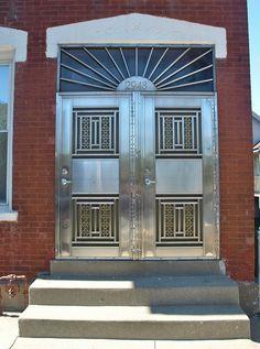 deco door, metal art, metal door