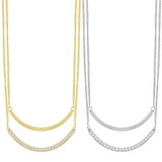 Stylish and fashionable, this trendy necklace is simply eye catching. Crafted of high polish finished rhodium plated or gold plated silver, this necklace glows with radiance and the addition of cubic zirconia stones exudes elegance.