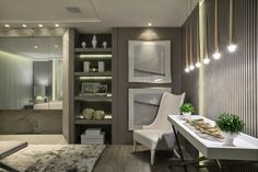 19---SUITE-DO-CASAL-casacor-parana-2017 Suites, My Room, Oversized Mirror, Sweet Home, Art Decor, Home Decor, Living Room, Portal, Furniture