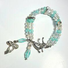 Only $8.99! - Opal & Seafoam Green Beaded 2 Row Bracelet, Dangling Silver Ribbon Bow Charm, Seafoam Marquise Beads, Rectangular Rhinestone 2 Hole Spacers, Opal Beaded Bracelet, Beachy 2 Row Bracelet  - FREE USA SHIPPING https://www.etsy.com/listing/458393116/opal-seafoam-green-beaded-2-row-bracelet