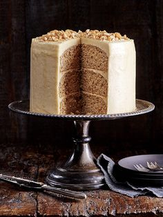 Peanut butter layer cake - This peanut butter layer cake is a little effort but looks stunning and will satisfy the fussiest peanut butter fiends