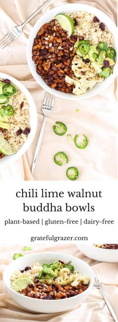These flavorful walnut buddha bowls are made with black beans and delicious chili lime spices. They're great for both packed lunches and quick weeknight dinners! via @gratefulgrazer