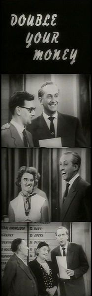 """Hughie Green presenting the first TV episode of """"Double Your Money"""" in 1955."""