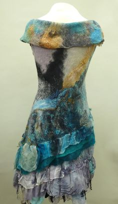 Nuno Felted dress seamless and reversible , created in a class by Charity van de meer
