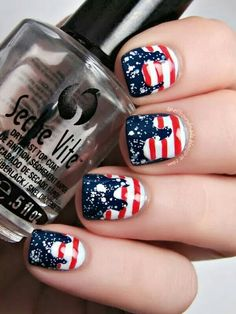 Dripping in Red white & Blue 4th of July nailart #Nailart @JenniferW