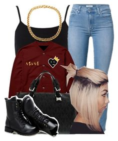 """ this outfit !!"" by trillest-queen ❤ liked on Polyvore featuring River Island, Michael Kors and Sunsteps"