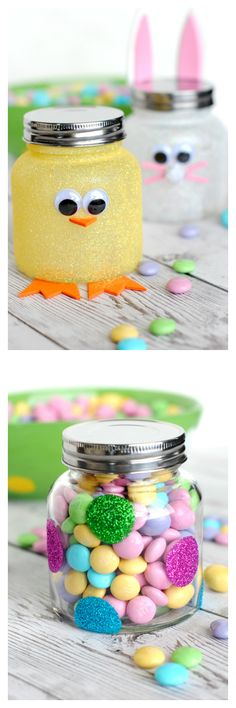 So cute and easy! Easter Candy Jars