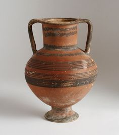 Large Ancient Black-on-Red Pottery Amphora / Cypriot, Greek, Etruscan, or Roman
