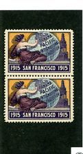 Vintage Poster Stamp Label  pair PPIE 1915 San Fran Worlds Fair Pan Pacific Expo