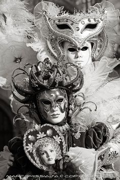 Night Venice Carnival Masks | ... and white Venetian Masks - Original Signed Photo - Venice Carnival