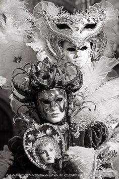 Night Venice Carnival Masks | ... and white Venetian Masks - Original Signed Photo - Venice Carnival