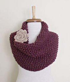 Purple Cowl Neckwarmer With Flower BroochReady For by knittingshop, $47.00