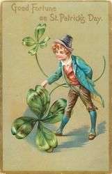 GOOD FORTUNE ON ST. PATRICK'S DAY  exaggerated shamrocks & boy (no pig)