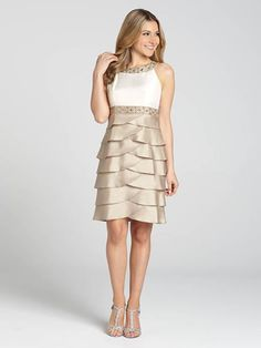 """Laura Petites: for women 5' 4"""" and under. This timeless champagne-coloured dress features an artichoke-style skirt with an ivory sleeveless top. It's all drawn together by a lovely, enchanting beaded band at the waist and neck....4010103-0457"""