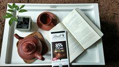 Its me time... A cup jasmine javanese tea, 85% chocolate and novel...