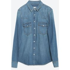 Zara Denim Shirt ($50) ❤ liked on Polyvore featuring tops, blue, zara shirt, denim top, blue shirt, blue top and shirts & tops