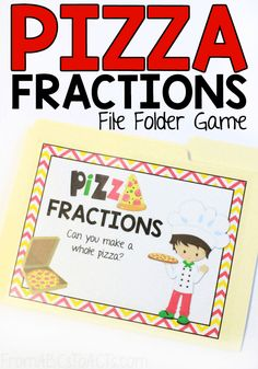 Who doesn't love pizza? Introduce your child to the basics of adding fractions with this fun pizza themed file folder game! File Folder Activities, File Folder Games, File Folders, Pizza Fractions, Adding Fractions, Math Fraction Games, Math Games, Games For Grade 1, Math Night