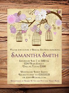 Vintage Birdcage Invitation, Purple Bridal Shower Invitation, Wedding Shower,  Birds, Birdcages, Brown, Pink, Purple