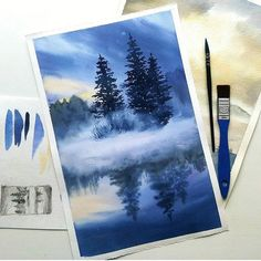 Fir-trees again That's what happens when cold weather make Painting Inspiration, Art Inspo, Guache, Painting & Drawing, Amazing Art, Landscape Paintings, Watercolor Paintings, Watercolors, Cool Art