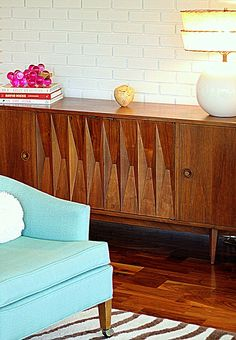 Painted Brick, Midcentury Console, Fun Colors - Chateau A Gogo