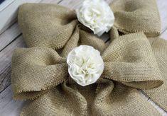 Handmade Burlap Bows Tattered Flower Center by CottonRidgeEmporium