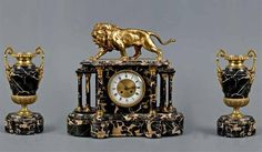 Marble and gilt garniture with figure of a lion   AntikvarnoAuktsionnoe   Chasy.Evropa XlX century .. Comments: LiveInternet - Russian Service Online Diaries